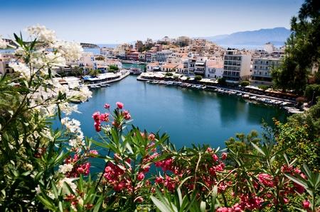 Lake Vulismeni in Agios Nikolaos,Crete, Greece Stock Photo