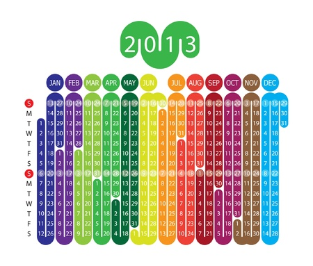 Calendar for 2013 year with graphic elements Illustration
