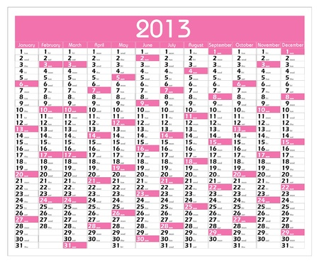 Vector Calendar for 2013 year with graphic elements Stock Vector - 15883971
