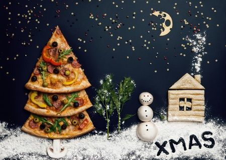 christmas concept: Christmas card with pizza tree and snowman, Xmas card  Naturmort