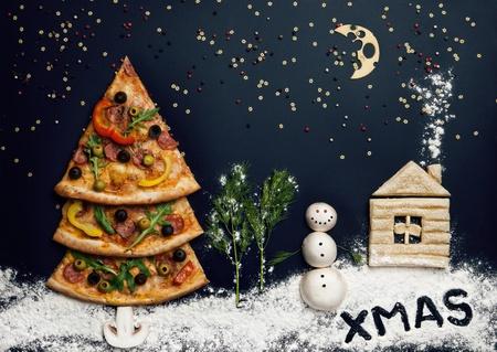 Christmas card with pizza tree and snowman, Xmas card  Naturmort