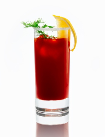 a glass with a cocktail  Bloody Merry  with ice and a sprig of dill on a white background, the top of the glass is decorated with salt