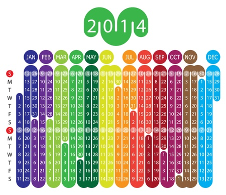 Vector Calendar for 2014 year with graphic elements Vector