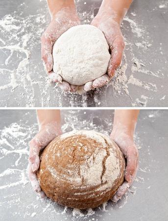 手は、小麦粉とテーブルの背景に生地とパンを保持します。 写真素材