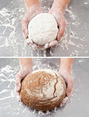 hands hold the dough and the bread on the background of the table with flour photo