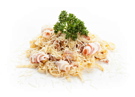 alfredo: traditional Italian pasta with bacon and cheese on white background Stock Photo