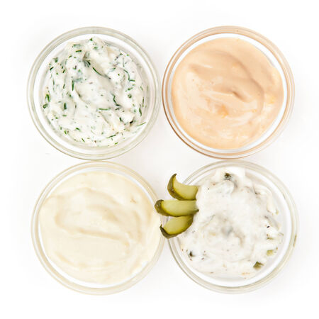 tartar: Several types of sauce on a white background