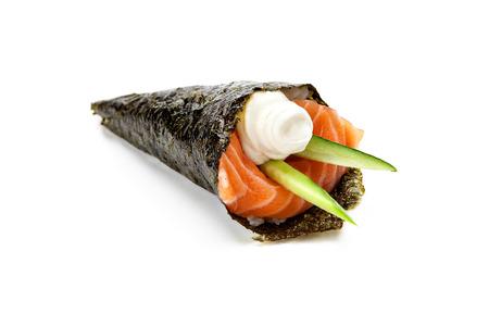 Japanese cuisine. Temaki sushi on a white