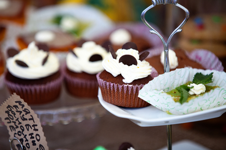 plate with delicious homemade cakes and cupcakes photo