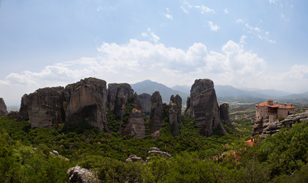 panoramatic: Panoramatic view of the Meteora monasteries in Greece