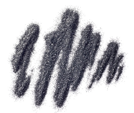 The dust of gray eye shadow on a white background