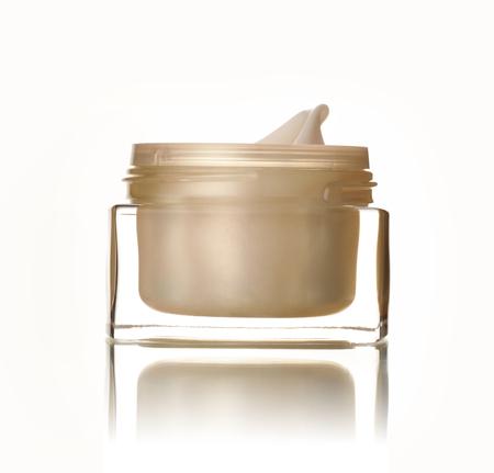 moisten: Golden bank with cream on white background