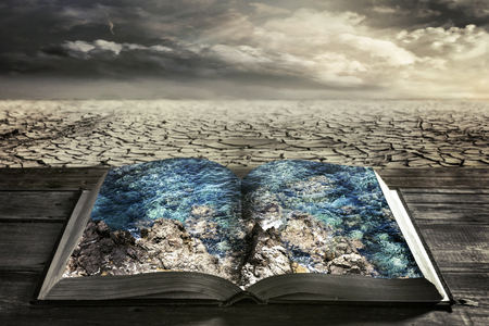 spiritual growth: open book with clean water on a background dry earth Stock Photo