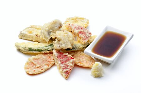 flavorsome: Japanese tempura with fresh vegetables fried in a light batter