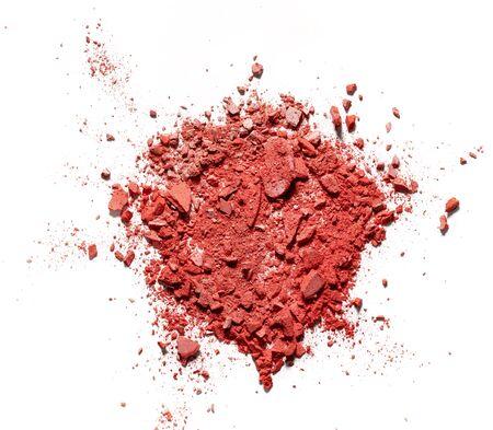 Make up crushed rouge on white background