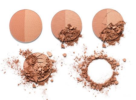 Make up crushed two-tone powder on white background