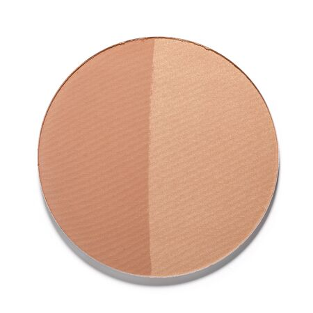 cosmetic product: Make up two-tone powder on white background