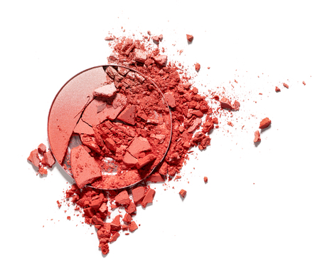 Make up crushed rouge on white background