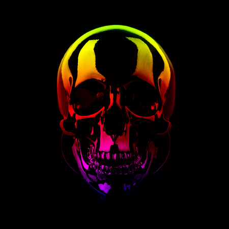 Skull with a rainbow gradient on a black background