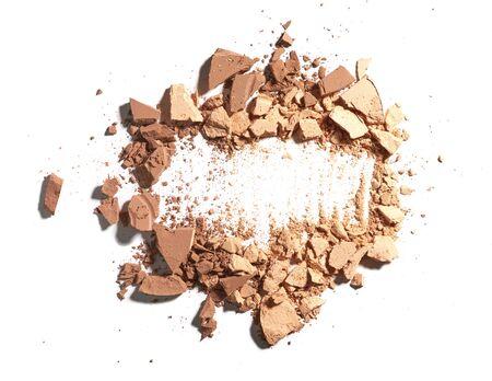 crushing: Make up crushed powder on white background Stock Photo