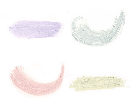 Cosmetic products smear paint of crushed cosmetic on a white background Stock Photo