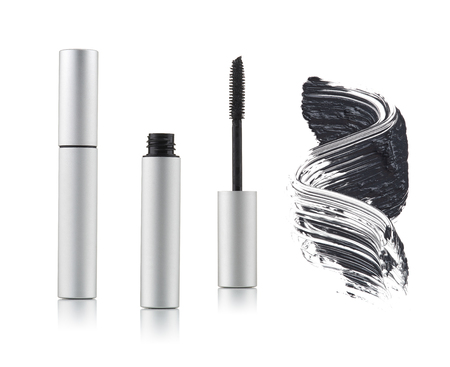 Set of black mascara with a single color swipe on a white background 스톡 콘텐츠