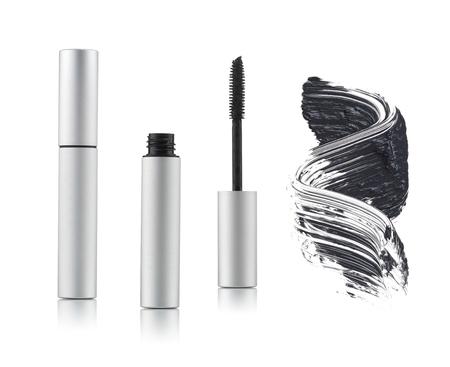Set of black mascara with a single color swipe on a white background Standard-Bild
