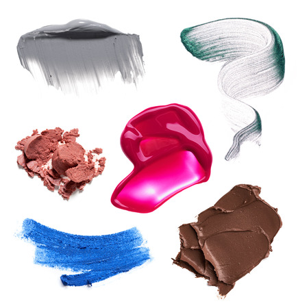 smear paint of cosmetic products on a white background