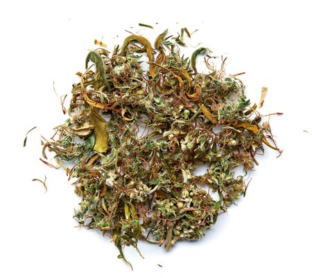 Medical cannabis ready to use on a white background