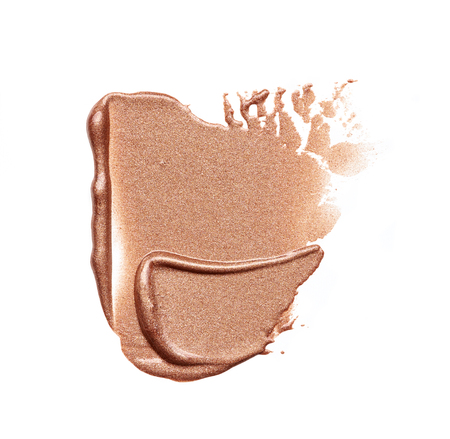 smudge: smear paint of cosmetic products on a white background