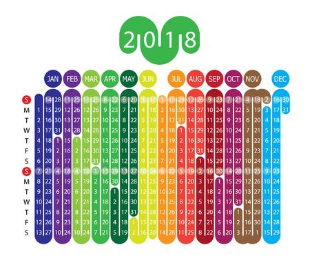 vector calendar for 2018