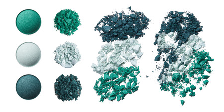 broken cosmetic products on white background