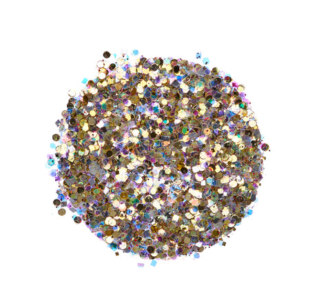 Bright and original golden glitter background, in the form of a circlef stencil