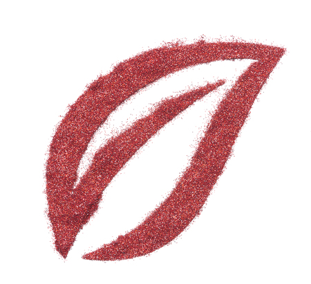 Bright and original red glitter background, in the form of a leaf stencil