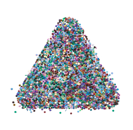 Bright and original background of multicolored dots, in the form of a triangle Stock Photo