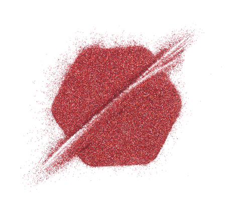 Bright and original red glitter background, in the form of a hexagon stencil Stock Photo