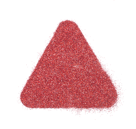 Bright and original red glitter background, in the form of a triangle stencil Stock Photo