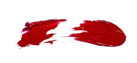 Smear and texture of red lipstick or acrylic paint isolated on white background.