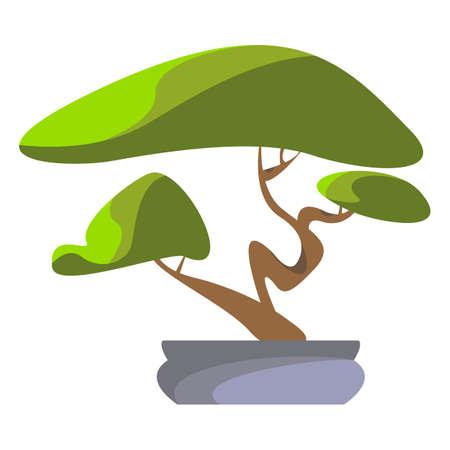 Bonsaiboom. Vector illustratie pictogram. Witte achtergrond Stockfoto - 97634634