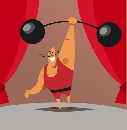 Vector illustration of retro strongman participating in circus show