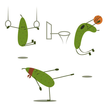 Cartoon vector illustration of Funny cucumber. Kinds of sports.