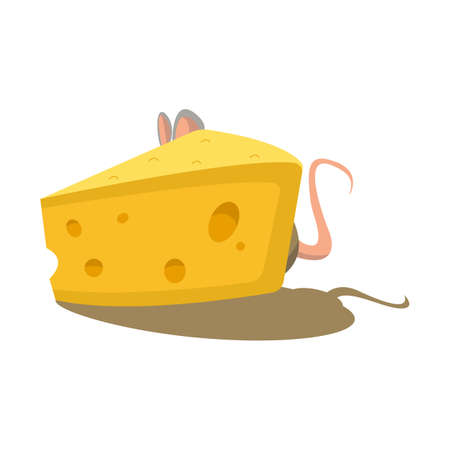 Cheese and mouse vector illustration for web design.