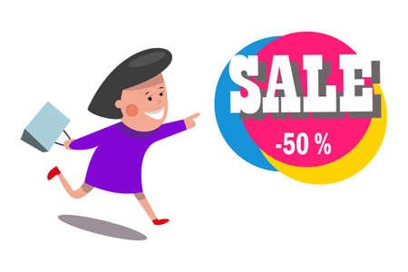 Sale.Women running for shopping.Vector illustration.Flat design. Imagens - 99177690