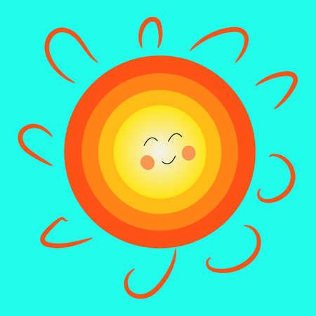 Sun icon. Cartoon style vector illustration.
