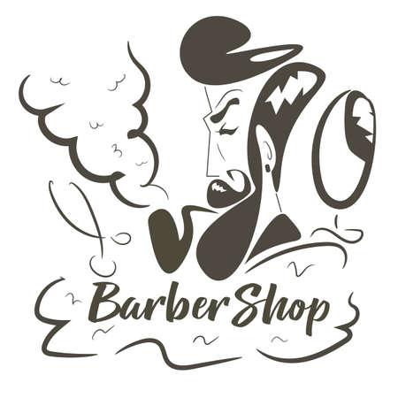 Barbershop logo with hipster man.Vector illustration.