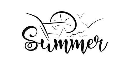 Summer vector illustration.Design logo or label.Flat style.
