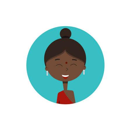 Indian girl avatar.Vector illustration for web design.