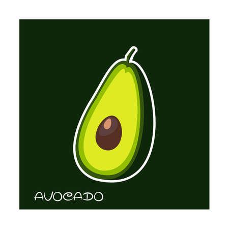 Avocado sticker.Vector illustration for web.