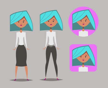 Cartoon girl.Chat bot avatar.Vector illustration for web.