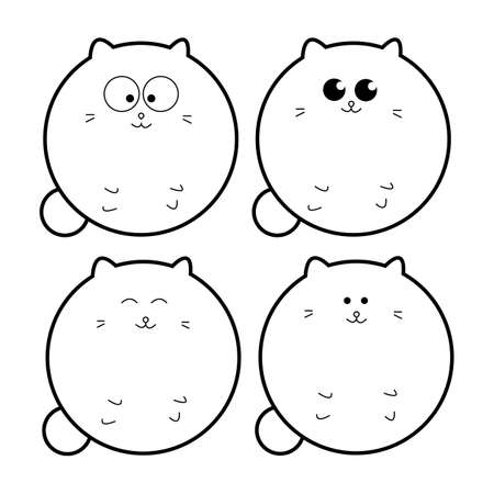 Cats set.Vector illustration for web.Cartoon style.Icon set.